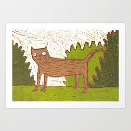 Lino Cat Art Print
