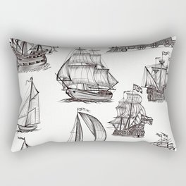 Hand drawn boats collection Rectangular Pillow