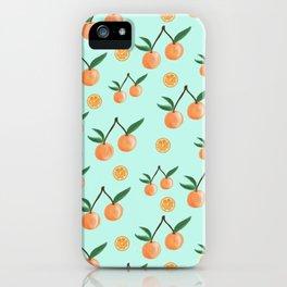 Fruity Oranges Pattern in Mint Green iPhone Case