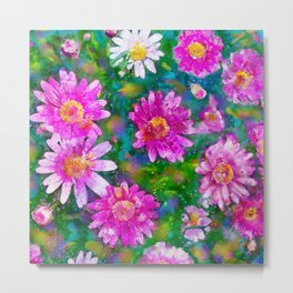 Pink Daisies Flower Party 2 by Jennifer Berdy Metal Print