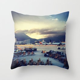 Dawn at Chek Lap Kok Throw Pillow