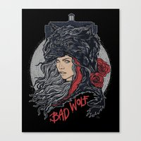 bad wolf Canvas Prints featuring Bad Wolf by zerobriant