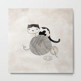 Cat plays knitting wool. Fun Fun  Metal Print