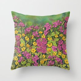 Wildflowers at Fox Corner Throw Pillow