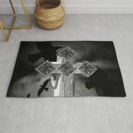 Moonlit GraveYard Cross With Crows Rug