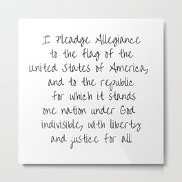 Pledge of Allegiance - Handwritten Metal Print