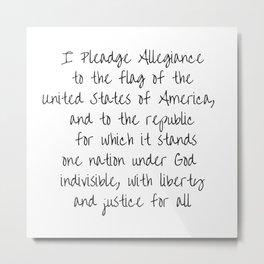 Pledge of Allegiance - Handwritten Metal Print