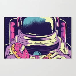 Hungry Astronaut Eating Donuts and Pizza Rug