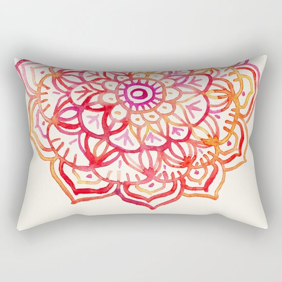 Watercolor Medallion in Sunset Colors Rectangular Pillow