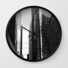 Reflection of the street Wall Clock
