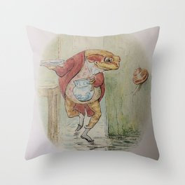 Jeremy Fisher by Beatrix Potter Throw Pillow