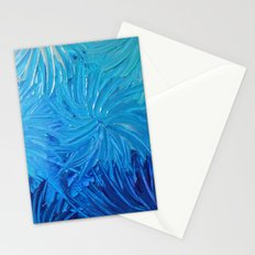WATER FLOWERS 2 - Stunning Ocean Beach Waves Floral Abstract Acrylic Painting Turquoise Blue Navy Stationery Cards