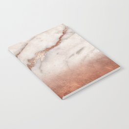 Shiny Copper Metal Foil Gold Ombre Bohemian Marble Notebook