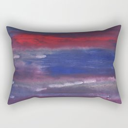 Red Blue nebulous watercolor Rectangular Pillow