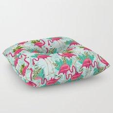 Pink Flamingos Exotic Birds Floor Pillow