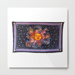 Celestial Burning Sun Wall Tapestries Metal Print