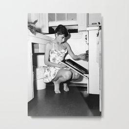 Audrey Hepburn in Kitchen, Black and White Vintage Art Metal Print