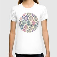 micklyn T-shirts featuring Patterned & Painted Floral Ogee in Vintage Tones by micklyn