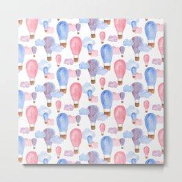 Watercolor air balloon. Pink and blue baby pattern. Nursery illustration. Kids art Metal Print