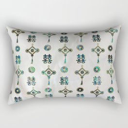 Gold and Abalone Shell Lucky Chinese Symbols  Pattern Rectangular Pillow