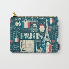 seamless pattern on France and Paris theme with drawings, inscriptions, architectural landmarks, map and flag of French republic in retro style. Carry-All Pouch