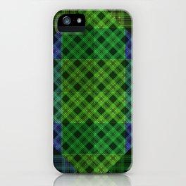 Blue green plaid iPhone Case
