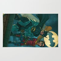 justice league Area & Throw Rugs featuring bat man the watch men justice league man of steel by Brian Hollins art