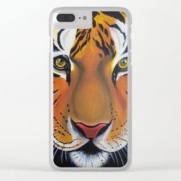 Tiger, acrylic on canvas Clear iPhone Case