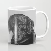 dachshund Mugs featuring Dachshund by Natasha Maiklem