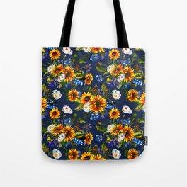 Modern yellow orange blue watercolor sunflower floral pattern Tote Bag