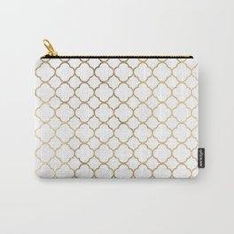 Elegant stylish white faux gold quatrefoil Carry-All Pouch