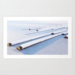 Snow frozen lake, snow covered logs, frozen, Lake, landscape Art Print