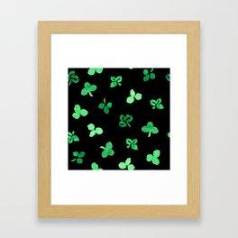 Clover Leaves Pattern on Black Framed Art Print