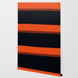 70s Orange Retro Striped Pattern Wallpaper