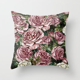 Vintage & Shabby chic -  Retro Roses Flower Garden Pattern Throw Pillow