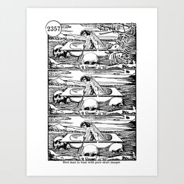 Bird man in boat with pure skull images Art Print