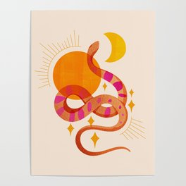 Abstraction_SUN_MOON_SNAKE_Minimalism_001 Poster