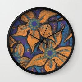 Golden flowers, decorative painting, pastel, floral motive Wall Clock