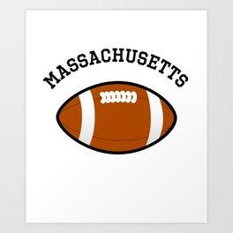 Massachusetts American Football Design black lettering Art Print