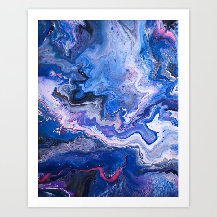 Indigo Neon Pink Florescent Red Black Blue And White Fluid Acrylic Abstract Painting Art Print By Hollycromer