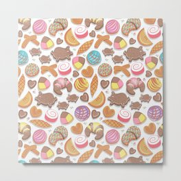Mexican Sweet Bakery Frenzy // white background // pastel colors pan dulce Metal Print