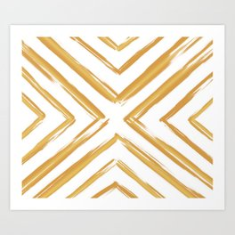 Minimalistic Gold Paint Brush Triangle Diamond Pattern Art Print
