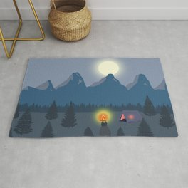 Bonfire camping in the mountains Rug
