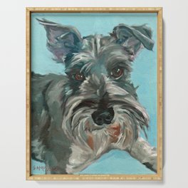 Schnauzer Dog Portrait Serving Tray