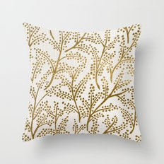 Gold Branches Throw Pillow