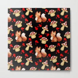 Cute foxes, wild forest mushrooms and red retro dots nature pattern. Fall season. November. Metal Print