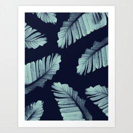 Navy Blue Banana Leaves Dream #2 #tropical #decor #art #society6 Art Print