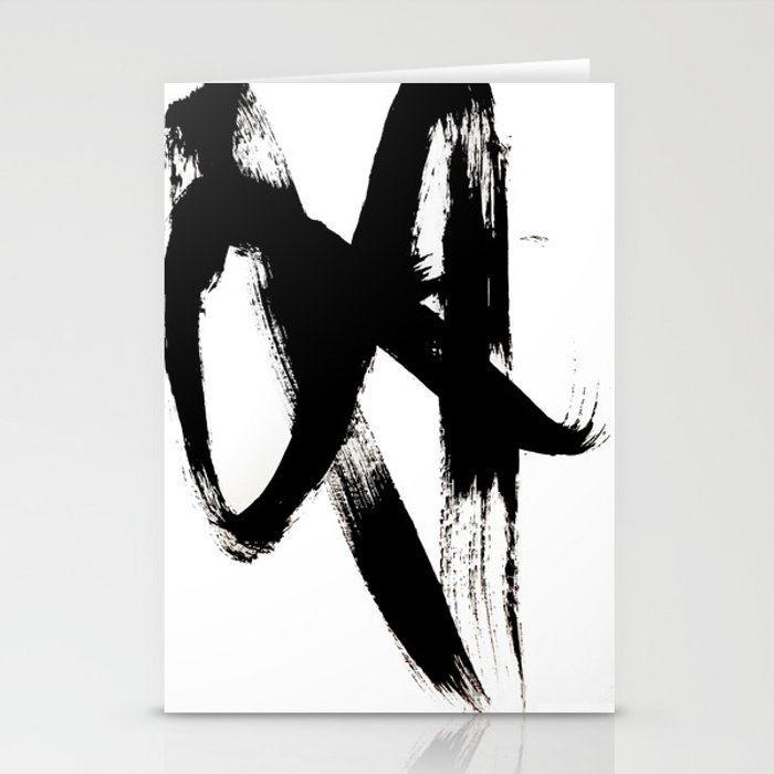 Brushstroke 2 - simple black and white Stationery Cards