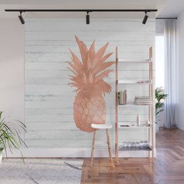 Rose Gold Pineapple on Wood Nautical Decor Wall Mural