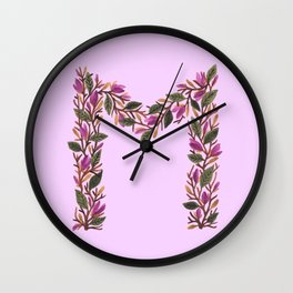 Leafy Letter M Wall Clock